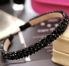 Black Crystal Bling Sparkle Hair Head Band Wedding Party Festival Boutique