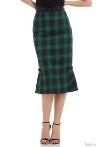 Voodoo Vixen Womens Pleated Hem Pencil Black/Green Skirt Vintage Ladies Retro