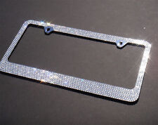 Bling White Crystal Rhinestone Metal License Plate Frame-Free Bling Cap