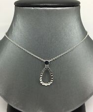 14K White Gold Open Pear Shape Charm Necklace