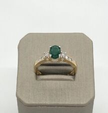 14k Solid Multi-tone Gold Natural Emerald Genuine Diamond Cluster Ring
