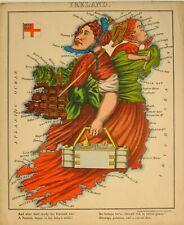 1868 ANTHROPOMORPHIC MAP IRELAND SCARCE CHROMOLITHOGRAPH WILLIAM HARVEY ALEPH