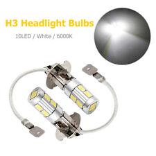 2x H3 5630 SMD 10 LED Bulbs White 6000K Car Fog Light Headlight Head Lamp 12V