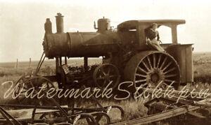1915 photo Negative Steam FARM Machinery TRACTOR Machine Female FARMER Wisconsin