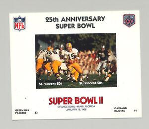St Vincent #1401 Football Super Bowl II 1v M/S of 2 Imperf Chromalin Proof
