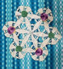 "Vtg 11¾"" Dia Antique Lace Crocheted Eggshell-White Doily Purple & Green Flowers"