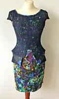 River Island Navy Blue Lace Floral Shift Dress Cut Out Peplum Wedding UK Size 8
