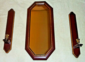 Homco Cherry Wood Gold Trim Octagon Triangle Mirror & 2- Sconces Home Interiors