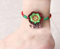 Fußkette Fußkettchen Blume Textil Ethnische Stickerei 20++ cm