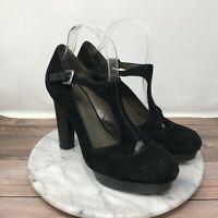 B Makowsky Verona Black Leather Platform Mary Jane Heels Womens Size 9.5
