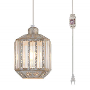 YLONG-ZS Hanging Lamps Crystal White Swag Lamp Rustic Pendant Light Plug in 16.4
