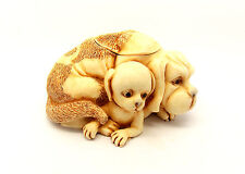 Dog/Puppy Harmony Kingdom Sculptured Box with Friends inscribed inside/UK