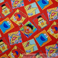 BonEful Fabric Cotton SCRAP Quilt Block Square Sesame Street Elmo Red VTG Stripe