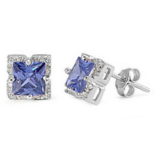 HALO PRINCESS CUT TANZANITE CZ .925 Sterling Silver Stud Earrings