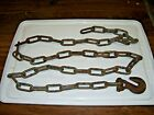 """Vtg 8 Foot Chain with 1 Hooks  Rusty - Strong - Rustic - 96"""" Tow Chain Steampunk"""