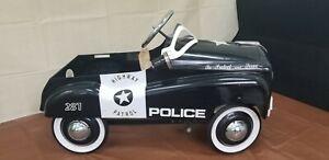 Vintage  Police Highway Patrol Metal Pedal Car by Burns Novelty & Toy Co