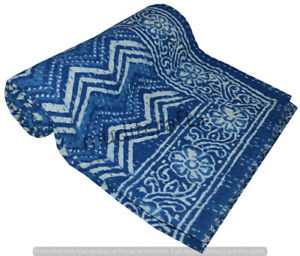 Indian Embroidery Kantha Quilt Bedspread Block Throw Cotton Blue