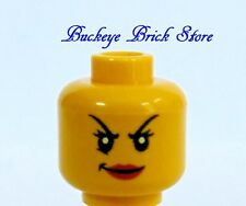 NEW Lego Female Minifig HEAD w/White Pupils Girl Yellow Headgear