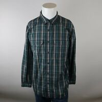 The North Face Teal Gray Long Sleeve Button Up Chest Pockets Plaid Shirt Mens M