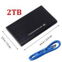 2TB USB 3.0 High Speed Black External Hard Drive Ultra Slim For One Mac Windows