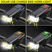 Solar Power & USB LED Bike Bicycle Front Light Rechargeable Headlight + Horn