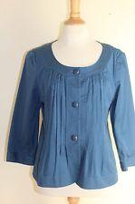 NWT Talbots Jackie Fit Stone Romantic Blue Cotton Swing Pleated Jacket Sz 12