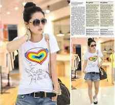 Womens Listen te your heart T-shirt Top summer hip hop size M