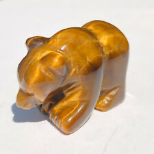 1PCS-Natural Tiger Eye Stone Quartz Bear Sculpture Carving Reiki Healing Collect