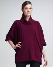 "Eskandar BEETROOT LightWeight Cashmere Cowl Nk 30"" Long Poncho Sweater O/S $1795"