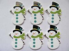 BB FLATBACKS planar SNOWMAN whole pk of 6 CHRISTMAS XMAS flatback hair bows