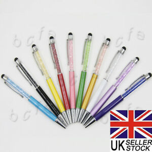 10 QUALITY CRYSTAL BALLPOINT PEN TWIST STYLE IPAD TOUCH PEN WITH 10REFILLS