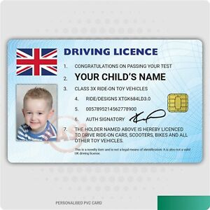 Kid's Personalised Driving Licence - Novelty Ride-On, Toy Car, Bike Cute License