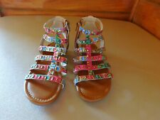 Girls Gladiator Sandals Size 2 Multi Colors Summer Strappy High Top Kids Shoes