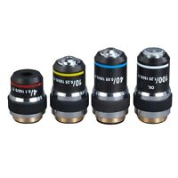 Set Achromatic Compound Microscope Objective Lenses DIN 4X-10X-40X-100X