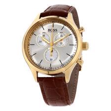 168f5840b8c2 Hugo Boss 1513545 Companion Cuero Marrón Cronógrafo Plata Dial Reloj Para  Hombre