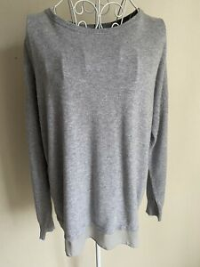 M&S Women's Jumper Size 14 Grey Oversized Lined Round Neck With Cashmere