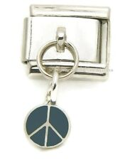 9mm Italian Charm Peace Sign Blue Stainless Dangle Modular Link