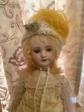 Antique Style Hat Made For French Or German Bisque Doll Ostrich Feather On 20�