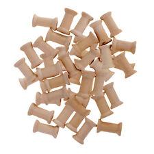 50Pc Wooden Spools Bobbins for Sewing Craft Ribbon Floss Organizer 27mmx16mm