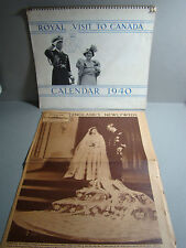 HISTORICAL ROYAL VISIT CANADA CALENDAR 1940 KING GEORGE+ENGLAND'S NEWLYWEDS 1947