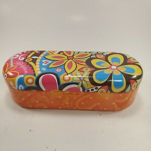 BRIGHTON Sunglasses Metal Tin Holder Orange Blue Yellow Pink Retro Flower Power