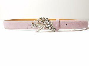 Ralph Lauren  Crystal Buckle Mauve /Pink  Italian Made Suede  Belt Size L