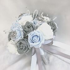 BRIDES POSY BOUQUET, BABY BLUE, WHITE & GREY ROSES,  ARTIFICIAL WEDDING FLOWERS