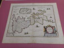 100% ORIGINAL LARGE GREAT BRITAIN  MAP BY ORTELIUS JANSSON C1642 HAND COLOUR