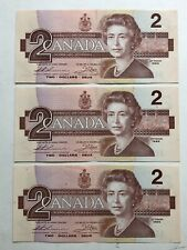 3 Canada 1986 Two 2 Dollar Bank Notes Consecuvite Bills Almost Uncirculated