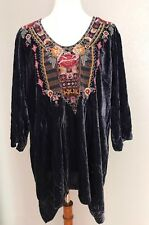 NWT $258 Johnny Was Cherelle 3/4 Sleeve Velvet  Drape Tunic Top XL