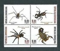 DOMINICANA 2013 Fauna Insects Arachnids Spider Scorpion Animals se-tenant 4v MNH