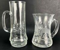 VTG Cut Crystal Etched Mugs Tankard Pinwheel Star of David Crosshatching Handle