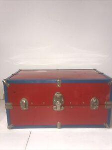 ANTIQUE HERCULEAN TRAVEL HARD TRUNK FIBRE CASE STEAMER 19in Red&blue No Key