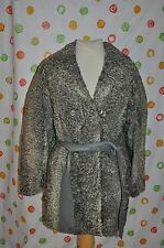 VINTAGE Rhombergs Gray Curly lamb Fur Car length COAT WOMENS Medium Chic